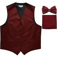 New Men's formal vest Tuxedo Waistcoat_bowtie & hankie set Burgundy wedding
