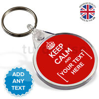 Keep Calm And Carry On Personalised Text Gift Round Circle Keyring Key Fob Chain