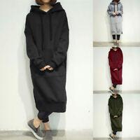 Women Hooded Long Dress Pullover Hoodies Top Sweatshirt Fleece Size S-5XL Casual