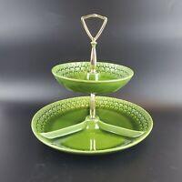 VTG Midcentury Maddux of California Green Scale Ceramic 2 Tier Tidbit Tray
