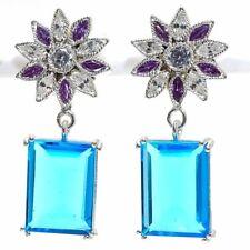 Blue Topaz , Multi Gems 925 Sterling Silver Jewelry Earring 1.69 7899