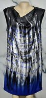 KENNETH COLE Black Blue Gray Streaked Patterned Shift Dress Large Lined Pockets