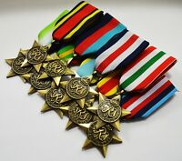 Superb Complete Set of 9 British Star Campaign Medals & Ribbons 1939-1945 WW2