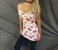 Floral Print White Feminine Stretch Layer Adjustable Strap Cami Tank Top S/M/L