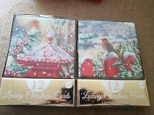 2 X 12 Luxury Christmas Cards Box Robin 2019