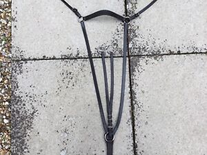 Black Leather Breastplate/martingale Full Size
