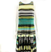 Cleo Kai Dress Black White Green Size L Stitch Fix Sleeveless Fit n Flare Stripe