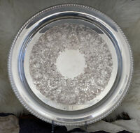 "Vintage Silver Plated Ornate Tray Platter 15"" Plate W.M. ROGERS Scrolls Flowers"