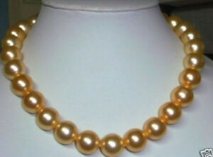 """Beautiful 10mm gold south sea shell pearl necklace 18"""" LL0123"""