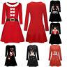 Women Christmas Santa Printed Dress Ladies Long Sleeve Mini Dress Swing Dress