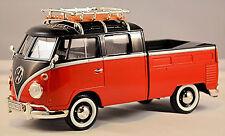 VW Volkswagen T1 Tipo 2 Cabina doble con Baca 1959-67 negro-rojo 1:24