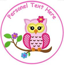 """OWL 7.5"""" ROUND PINK OWL EDIBLE PERSONALISED CAKE TOPPER ON ICING SHEET"""