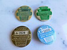 Lot of Four Rare Vintage Pennsylvania Non Resident Fishing License Badges