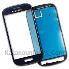 Vitre écran Samsung Galaxy S3 Mini SIII i8190 Bleu avec Adhésif Front Glass