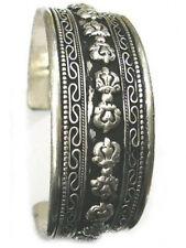 Huge Tibetan Filigree Threads Carved 10 Double Vajra Dorje Amulet Cuff Bracelet