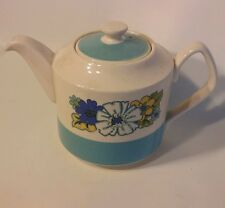 "Floral Tea Pot SADLER of England Blue White Vtg. Tea Kettle w/Lid Vintage 6""H"