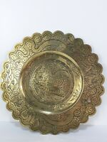 Antique Brass Embossed Engraved Platter Wall Hanging Plate Chinese Dragon 34cm