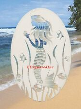 Mermaid Window Decal OVAL 21x33 Mermaids Glass Door Vinyl Cling Tropical Decor