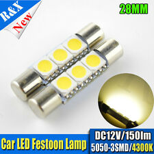 2/4/10 X 28mm 5050 3 SMD LED Car Festoon Dome Light Warm White/ Blue/ Ice Blue