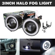 "2x 3"" LED Projector Fog Light w/ White COB Halo Angel Eye Ring Car ATV Truck SUV"