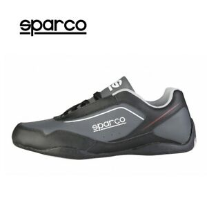 Sparco Jerez Mens Black Grey Leather Sneakers Sport Casual Driving Racing Shoes