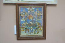 "Vintage Thangka Painting  Buddha Buddhist Siddha Thanka Art 10""x13"" Framed 14x17"