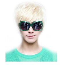 Fashion Punk Style Male Wig Man Short Platinum Blonde Rice White Straight Wig
