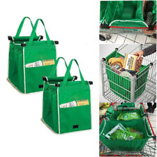 2 Pk Reusable Shopping Grab Bags Eco Foldable Trolley Tote Grocery Clip To Cart