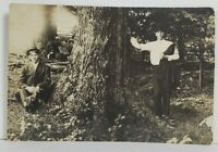 Rppc Trick Photograph or Twins Posing by Tree Real Photo c1915 Postcard N15