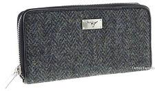 Ladies Harris Tweed Long Zip Purse Plain Charcoal LB2100 Col1