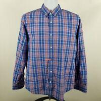 Bonobos Mens Blue Red Plaid Check L/S Dress Button Shirt Sz Medium M