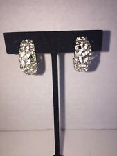 Vintage Panetta Earrings Pave Rhinestone Clips Silver Tone Half Moon