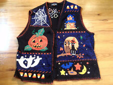 HAMPSHIRE STUDIO HALLOWEEN HORROR UGLY SWEATER VEST KNITTED PATCHWORK PUMPKINS