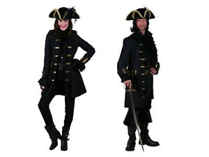 schwarze Piratenjacke Damen Herren Mantel Jacke Gehrock Piraten Kostüm Halloween