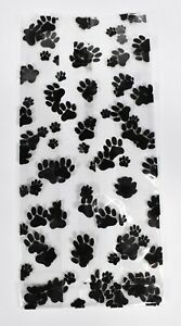 """100 Cat or Dog PAW PRINT Plastic Clear Bags  ~  10"""" L x 5"""" W x 3"""" Gusset"""
