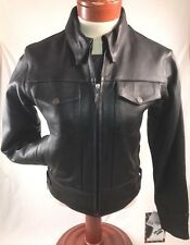 Womens Milwaukee Motorcycle Jacket Black Leather Coat Zip Out Liner Size XS NWT
