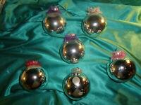 ~ 6 alte große Glas Christbaumkugeln silber Lametta Vintage Weihnachtsbaumkugeln