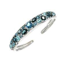 Natural Swiss & London Blue Topaz Bangle Cuff Bracelet Sterling Silver Gold Over
