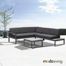 New Charcoal Aluminium Outdoor Garden Sofa Lounge Furniture Setting Table Chairs