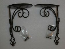 PartyLite Antique Brass Pillar Wall Sconce Pair ~ Excellent Pre-Owned Condition