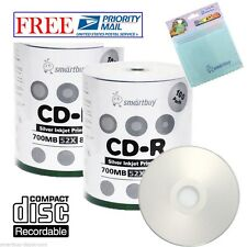 200 Smartbuy Silver Inkjet Printable 52X CD-R 700MB Disc +FREE Micro Fiber Cloth