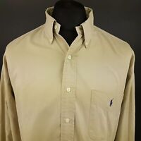 Polo Ralph Lauren Mens Vintage Shirt 2XL Long Sleeve Beige Regular Fit Cotton