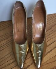 """True Vintage 50's Women's Classic Pointed 3.5"""" Heels Metallic Leather Size 5.5"""