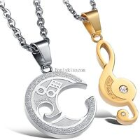 Stainless Steel His or Hers Silver Gold Cz Music Symbol Pendant Necklace Gift
