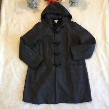 Motherhood Sz L Gray Wool Blend Hooded Jacket Coat Winter Lined Toggle Closure