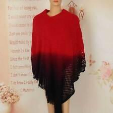 Women Poncho Stole Cape Shrug Wrap Shawl Jacket Jumper Sweater Tassels Gradient