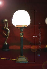 VINTAGE C-1940s Bronzo corinzio Colonna lampada con paralume in vetro opaline Latte