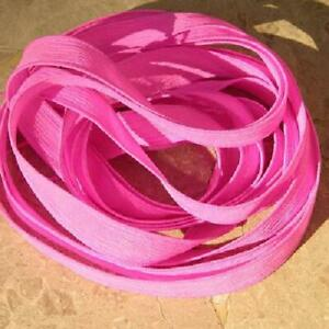 HOT Pink Silk Ribbons Hand Dyed Crinkle Strings Qty 5 JamnGlass Bright Wedding