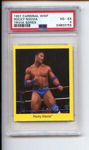 1997 CARDINAL WWF WWE THE ROCK ROCKY MAIVIA TRIVIA SERIES ROOKIE PSA 4