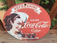 "Vintage Coca Cola 12"" Round Heavy Porcelain Sign Soda Cola Sign"